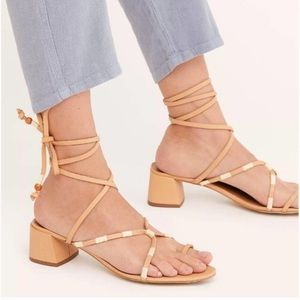 NWT Free People Tan Beaded Hermosa Lace-up Sandals
